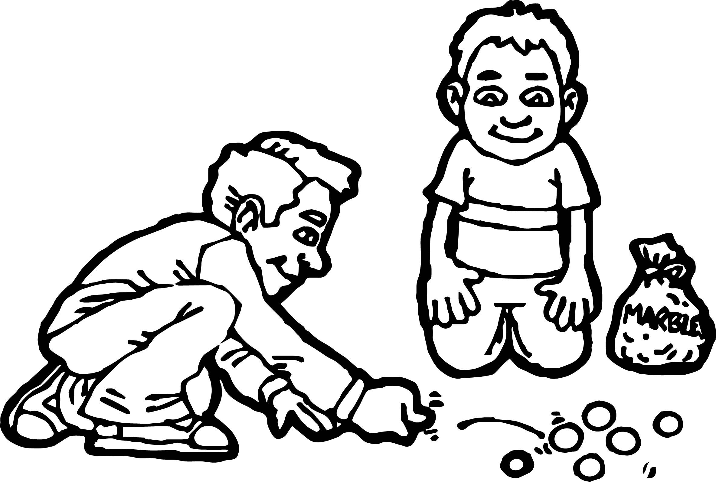 2367x1594 Two Kids Playing Marbles Coloring Page Wecoloringpage Inside