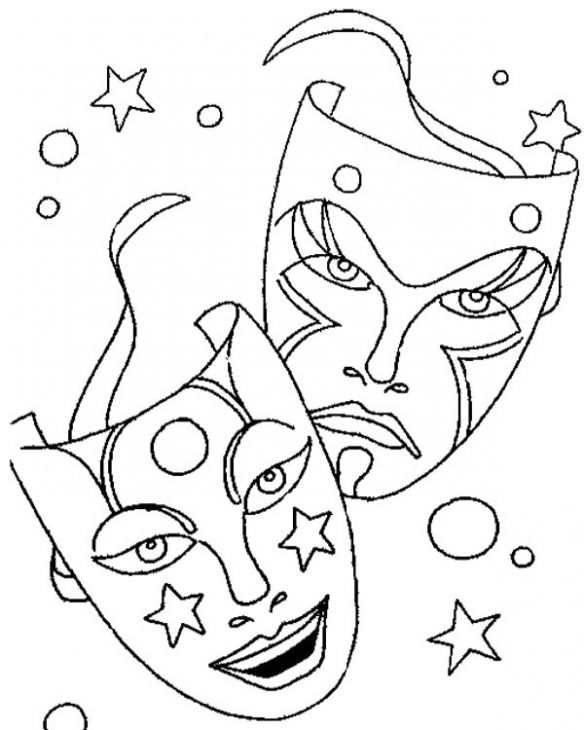 584x730 Printable Mardi Gras Masks For Carnival Coloring Page Holiday