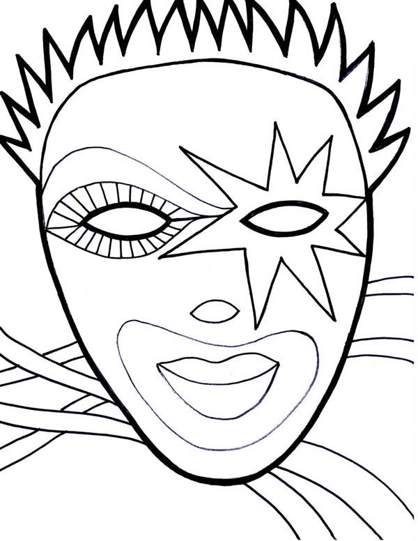 600x776 Wearing Mask On Mardi Gras Fest Coloring Page