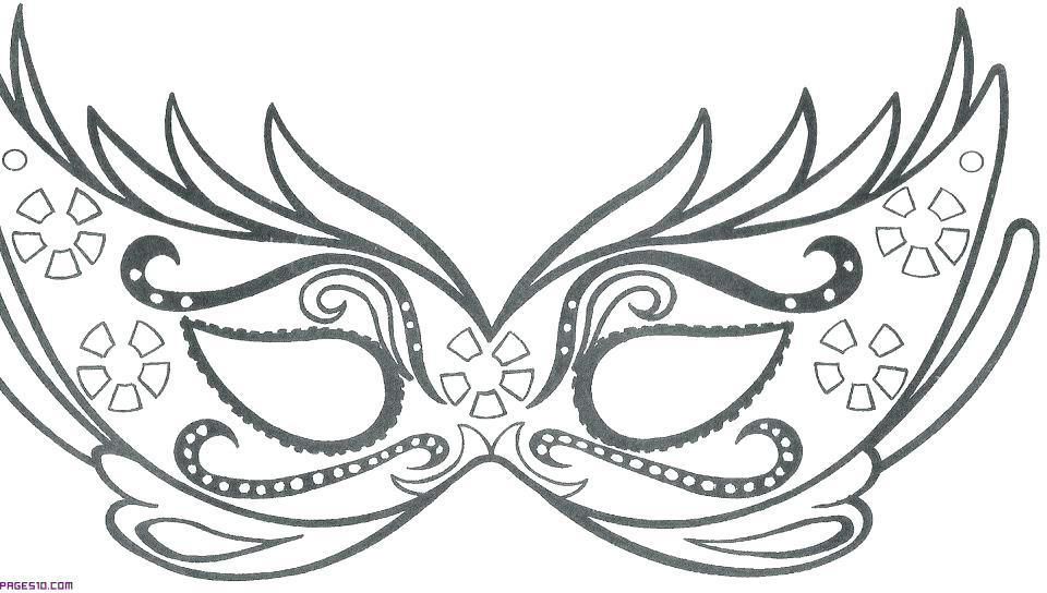 960x544 Mardi Gras Mask Coloring Page