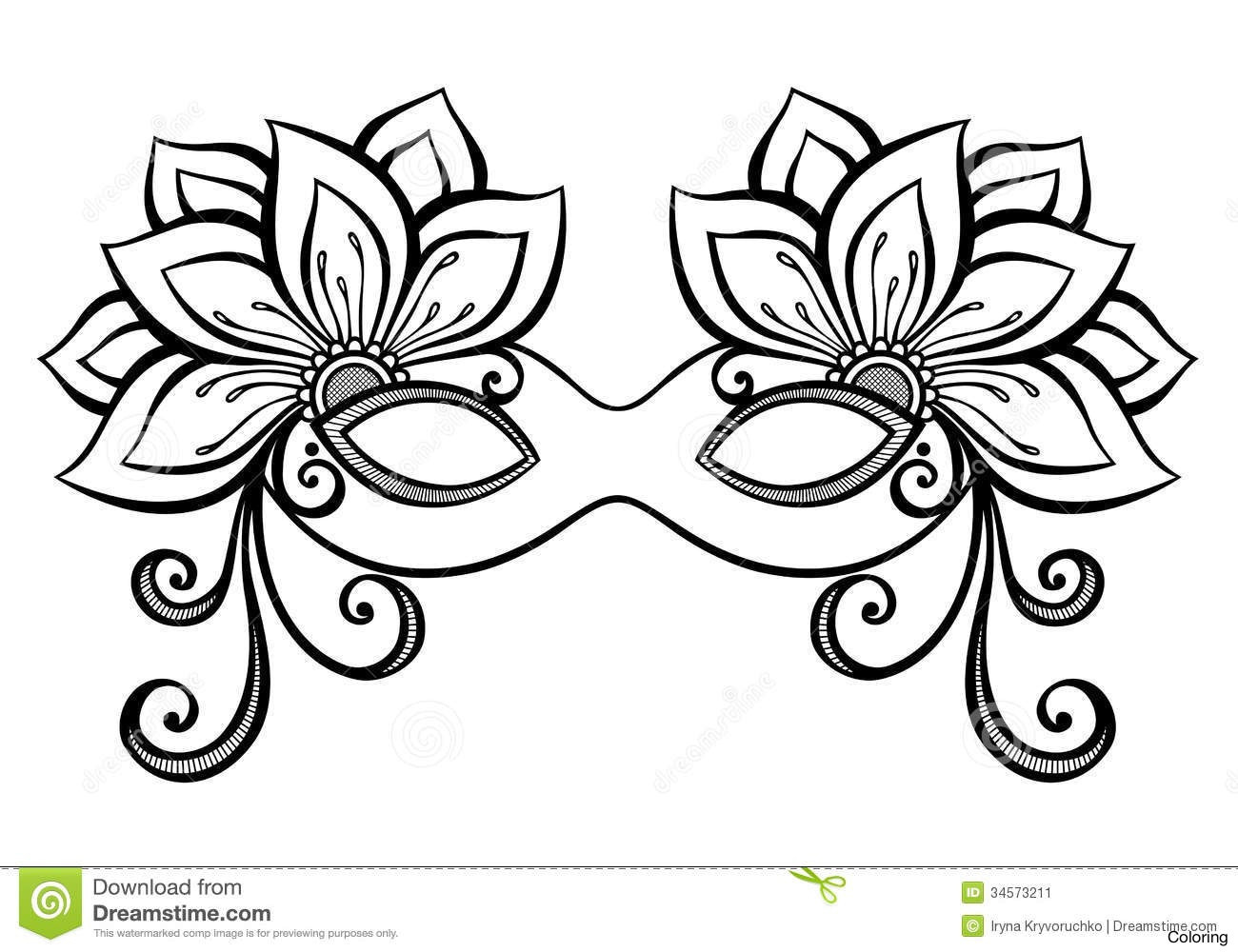 1300x1000 Free Download Mardi Gras Mask Coloring Pages Template To Print