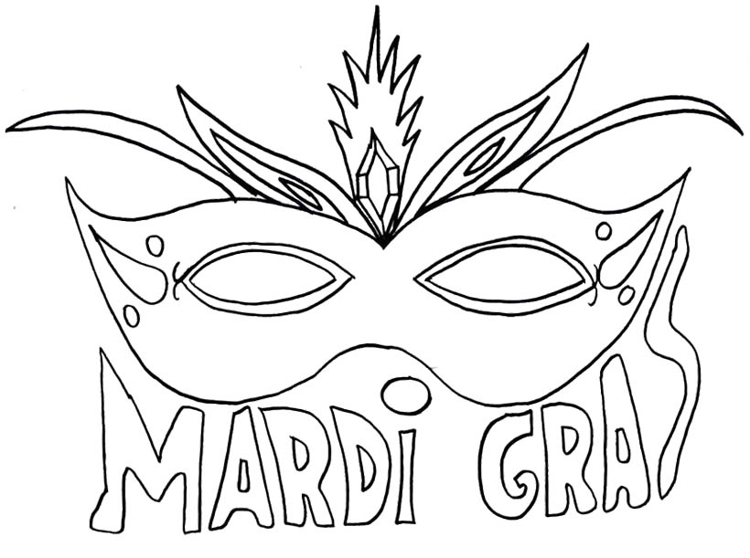820x611 Mardi Gras Mask Coloring Page