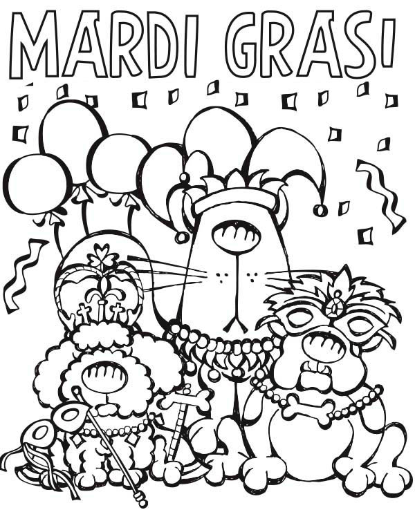 600x754 Cartoon Characters Parade On Mardi Gras Coloring Page