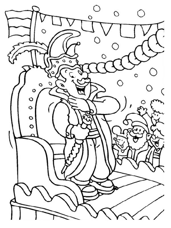 600x800 The King Character On Mardi Gras Parade Coloring Page