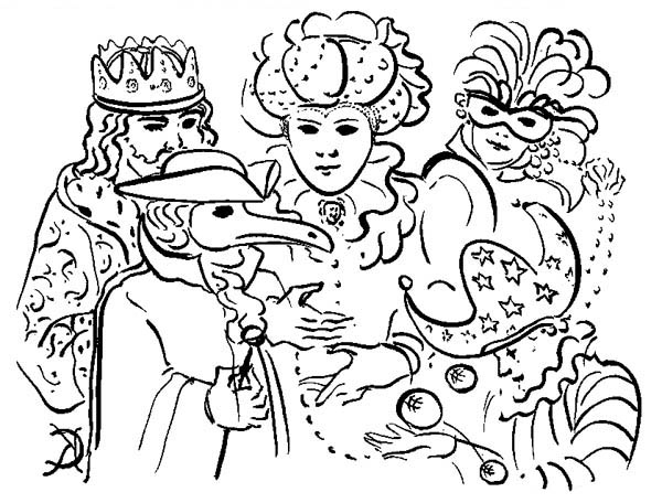 600x456 Five Common Characters In Mardi Gras Parade Coloring Page
