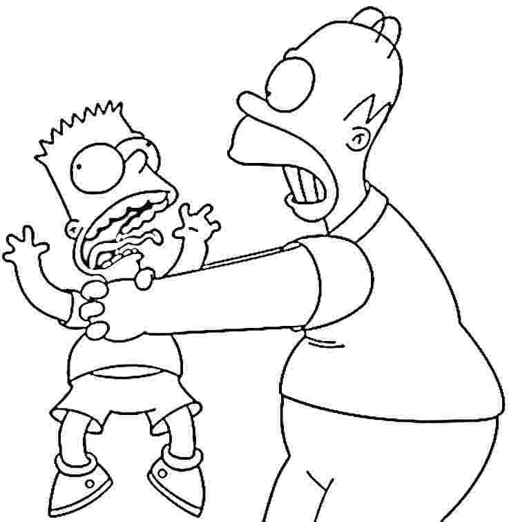 737x756 Homer And Bart Simpson Coloring Pages