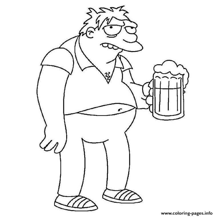 760x760 Barney Gumble Simpson Coloring Pages Printable