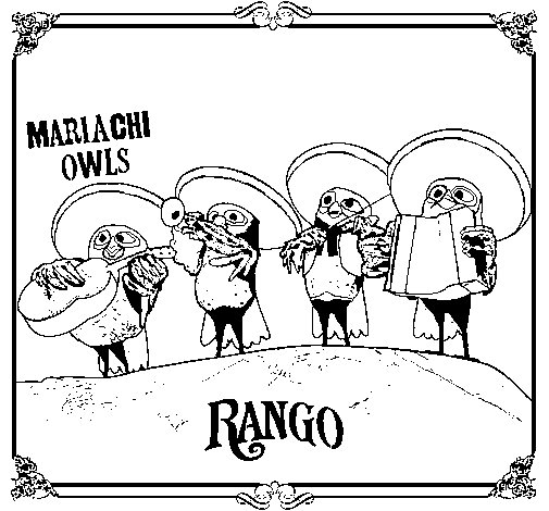 505x470 Mariachi Owls Coloring Page