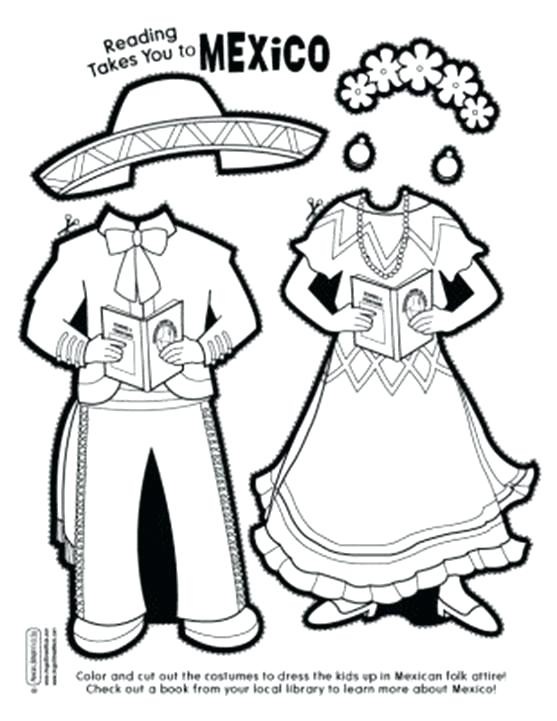 557x721 Mariachi Paper Doll Early Education Printable Coloring Pages