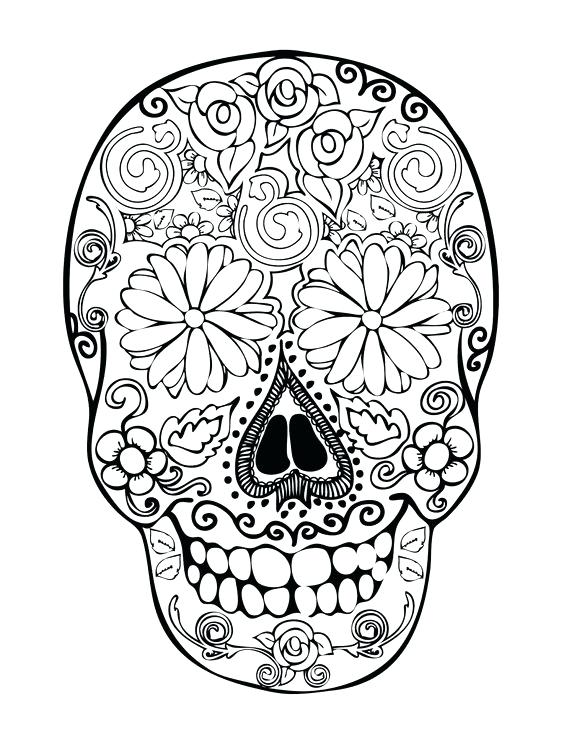 564x729 Mariachi Skeleton Day Of Death Decorated Skull Coloring Printable