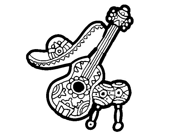 600x470 Mexican Instruments Coloring Page