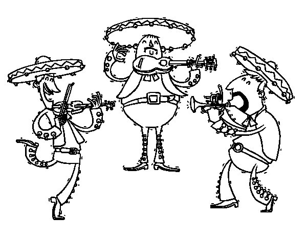 600x470 The Mariachis Coloring Page