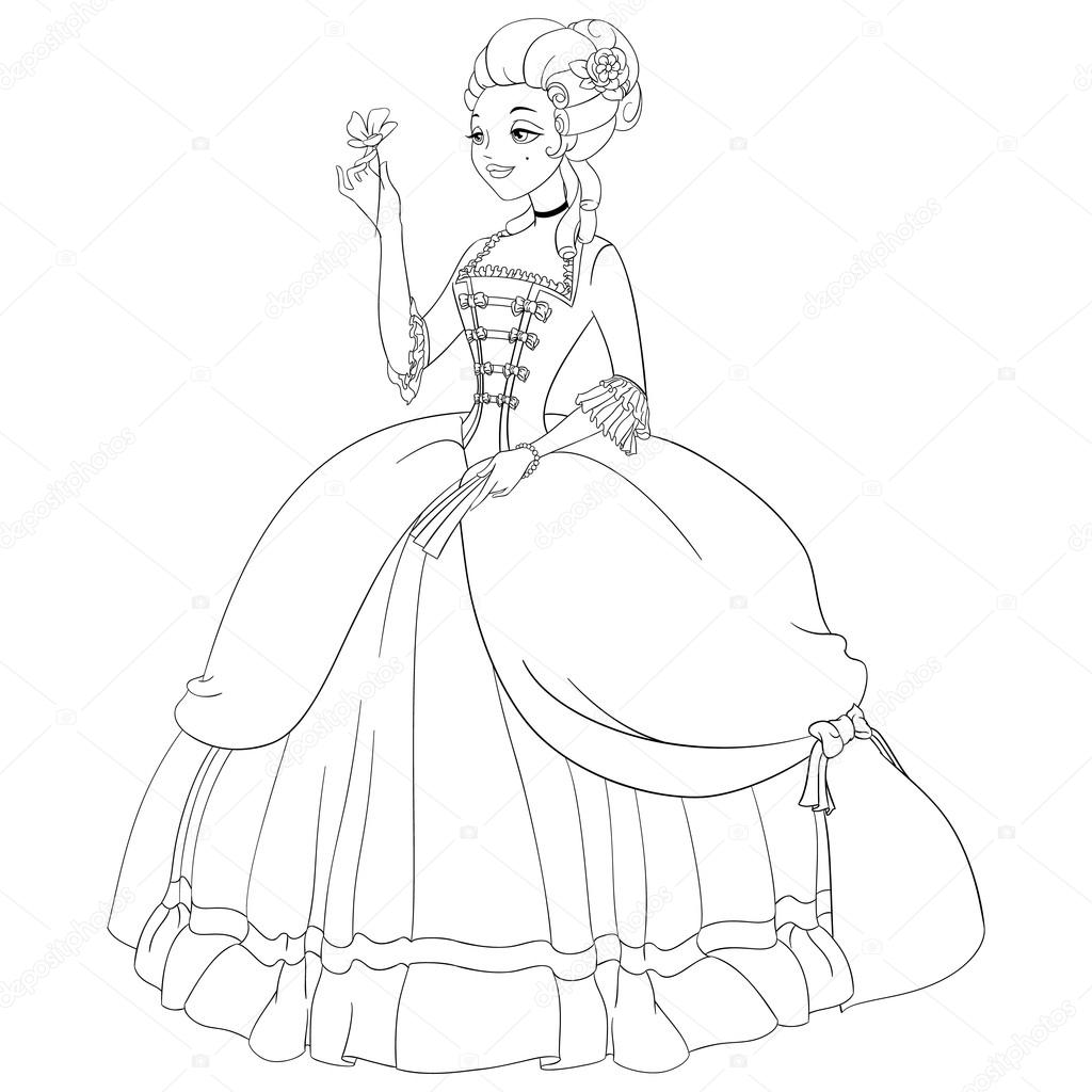 1024x1024 Immediately Marie Antoinette Coloring Pages Outlined Rococo Lady