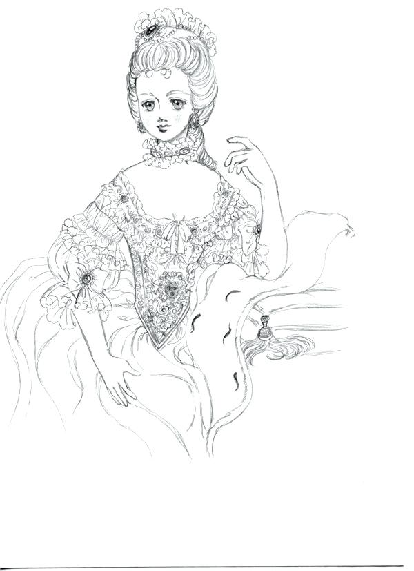 600x827 Marie Antoinette Coloring Pages Coloring Pages Disney For Adults