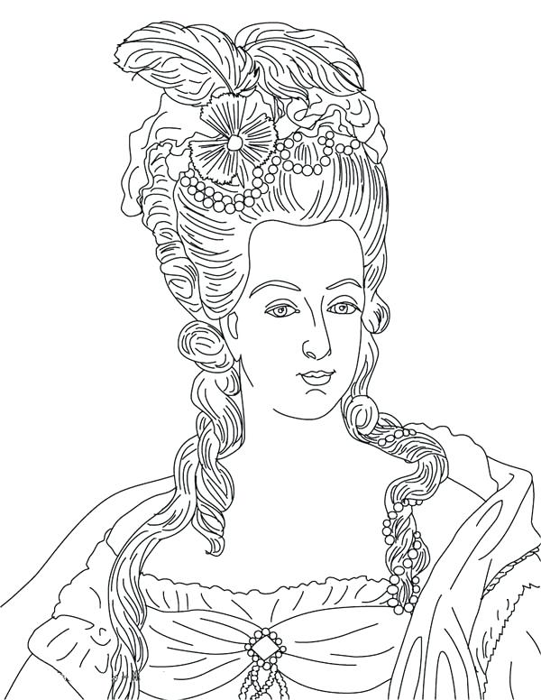 600x776 Marie Antoinette Coloring Pages French Queen Coloring Page