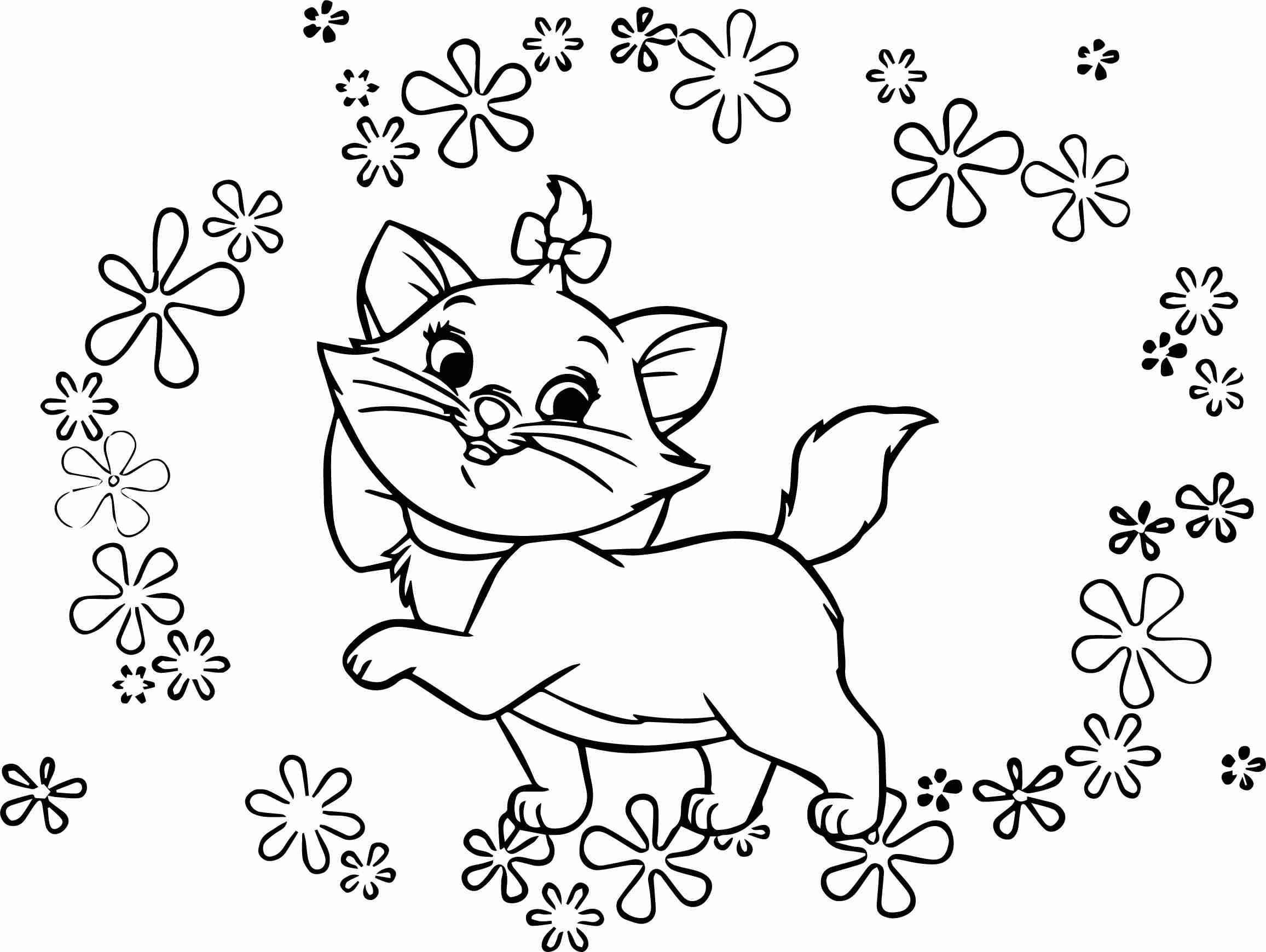 2313x1739 Disney The Flowers Aristocats Coloring Page Wecoloringpage