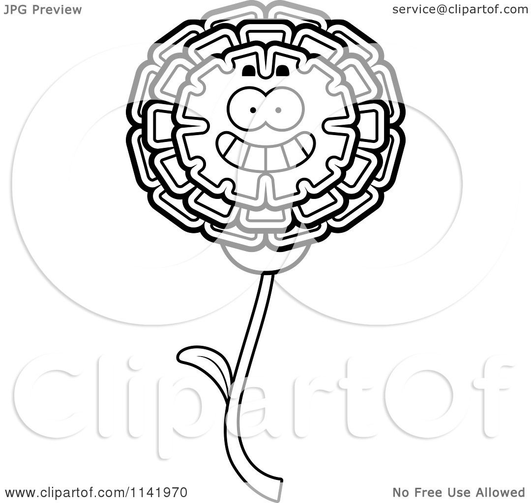 1080x1024 Cartoon Clipart Of A Black And White Happy Marigold Flower
