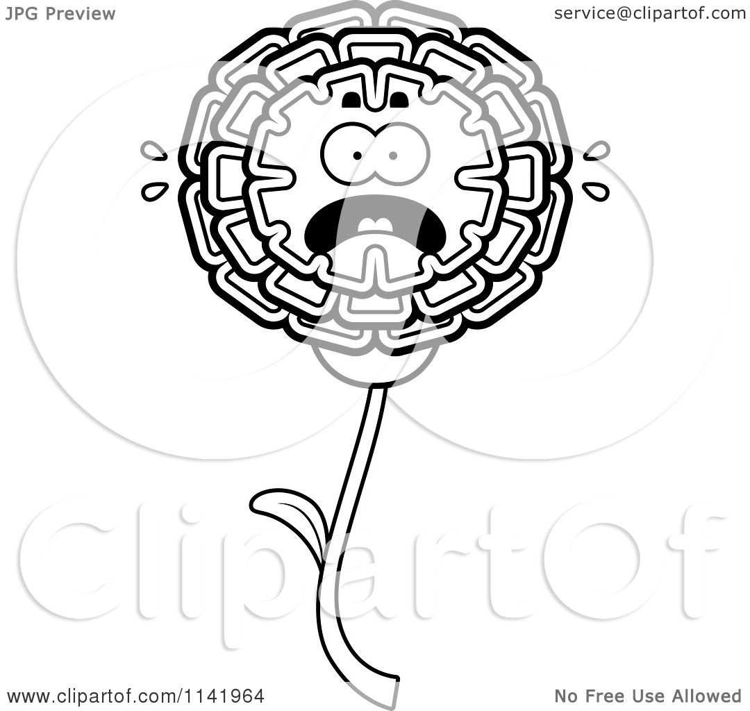 1080x1024 Cartoon Clipart Of A Black And White Scared Marigold Flower