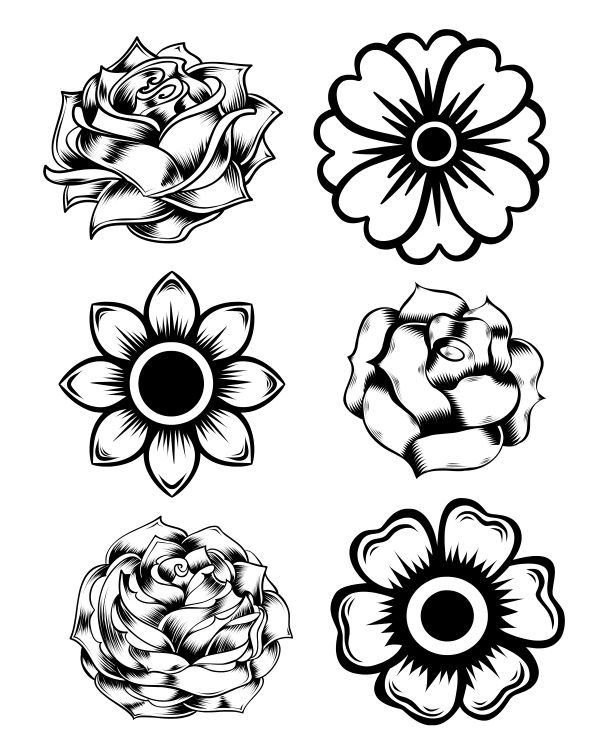 600x750 Free Printable Rose And Marigold Flowers Coloring Page Kids