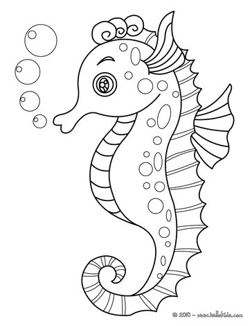 364x470 Seahorse Coloring Pages