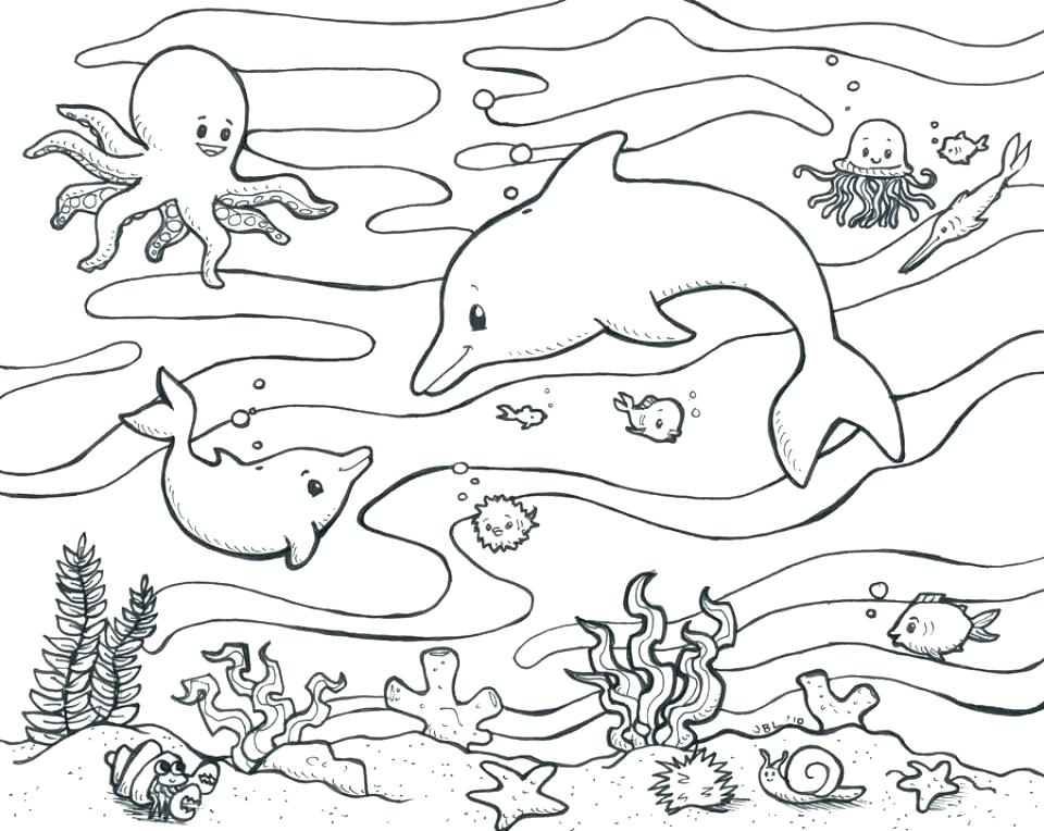 960x764 Coloring Pages Of Ocean Animals Underwater Scene Coloring Pages