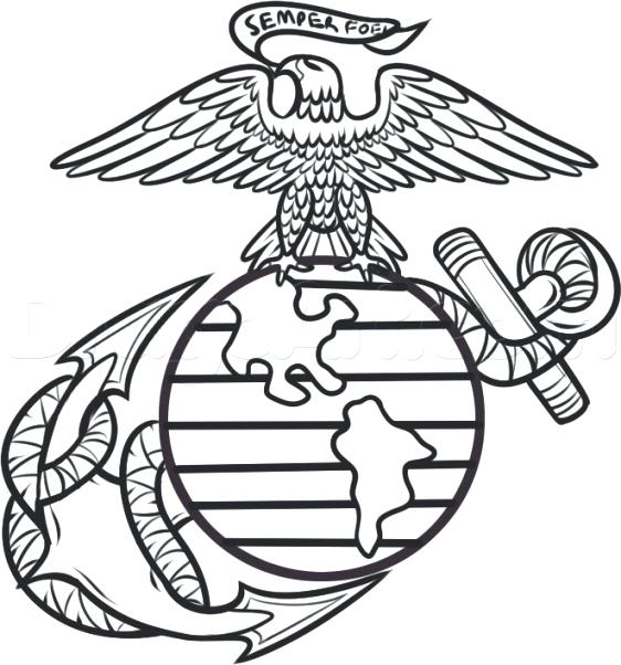 562x602 Marine Coloring Page Marine Corps Coloring Pages Military Coloring