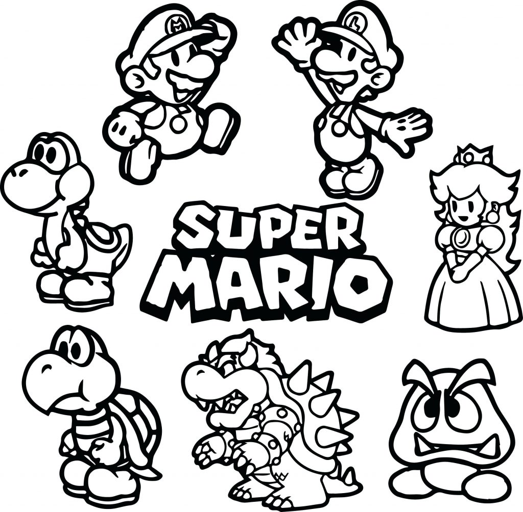 1024x1004 Mario World Coloring Pages