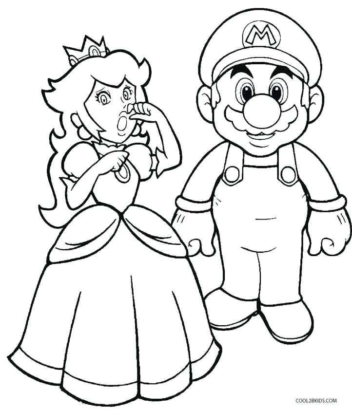 722x842 Mario Coloring Page Drawn Princess Peach Mario Luigi And Yoshi