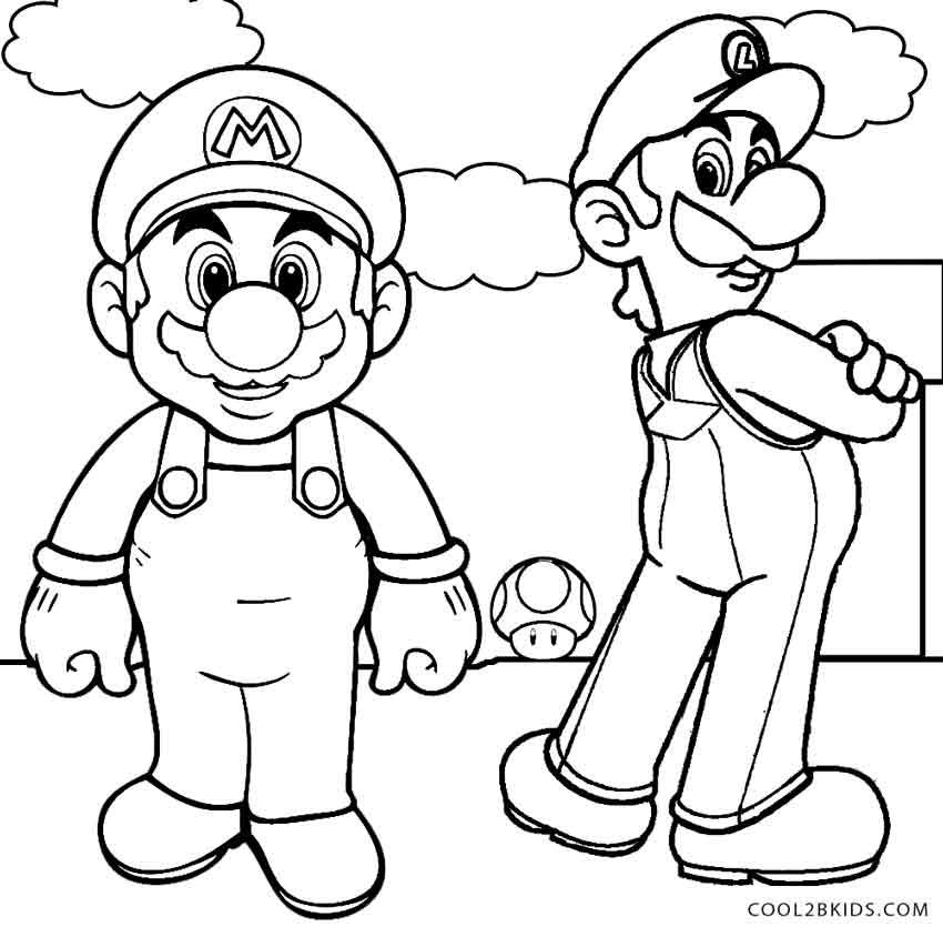 850x835 Printable Luigi Coloring Pages For Kids Line Art