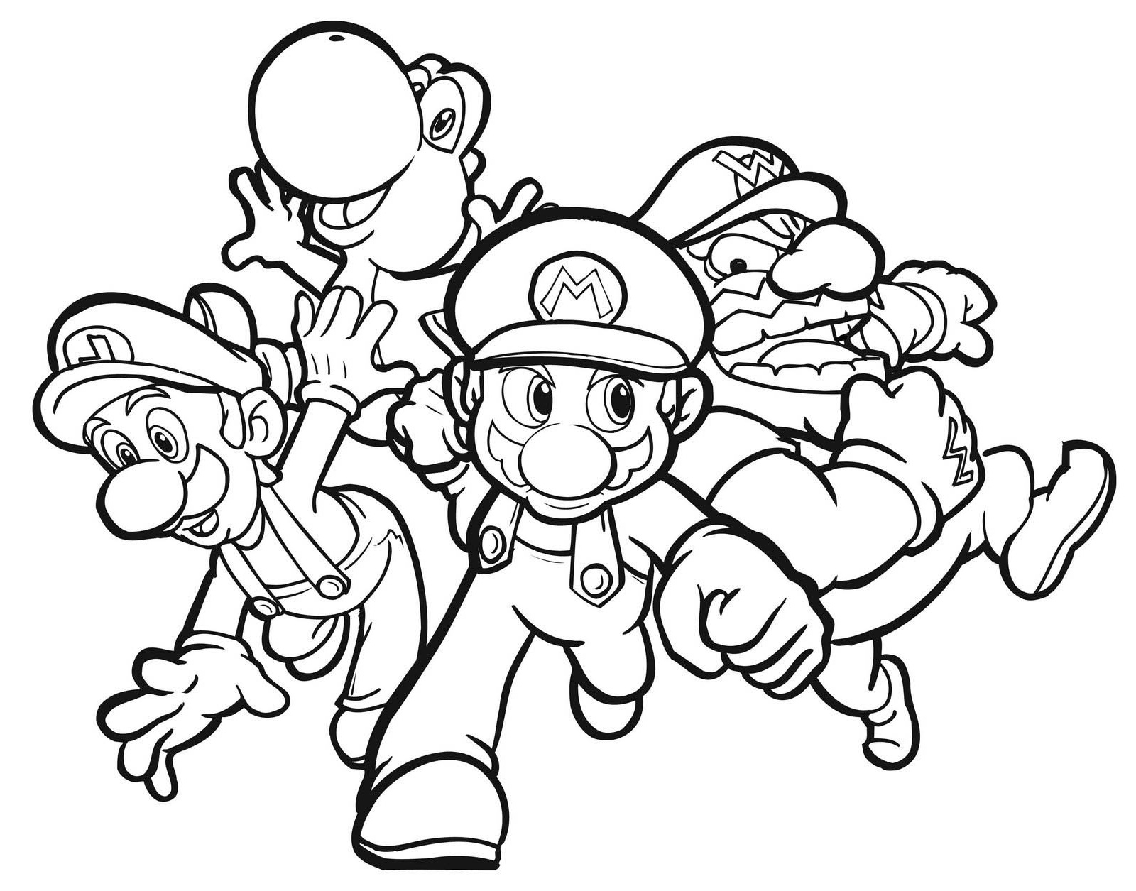 1600x1255 Colouring Pages Of Mario Yoshi Luigi And Wario For Kids