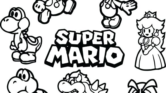 585x329 Mario Color Page Mario Bros Characters Coloring Pages To Print