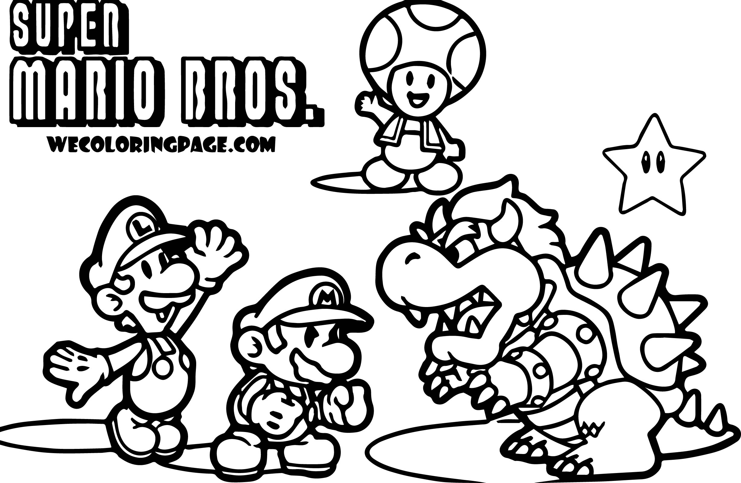 2455x1600 Super Mario Bros Characters Coloring Pages Sketch In Brothers