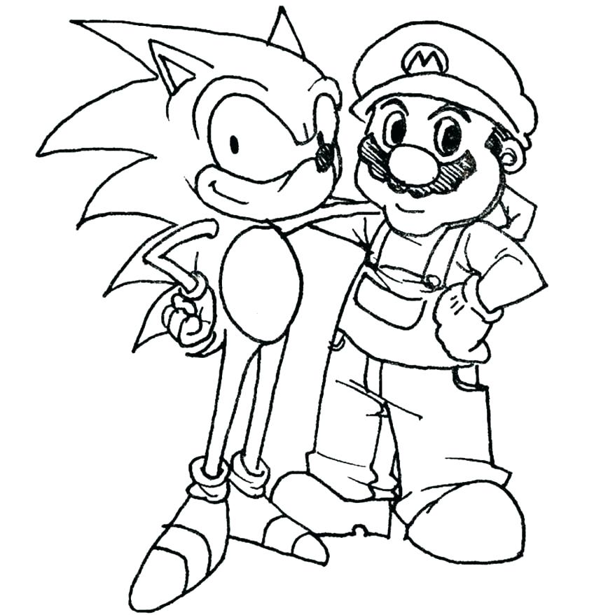 878x878 Mario Bros Coloring Pages