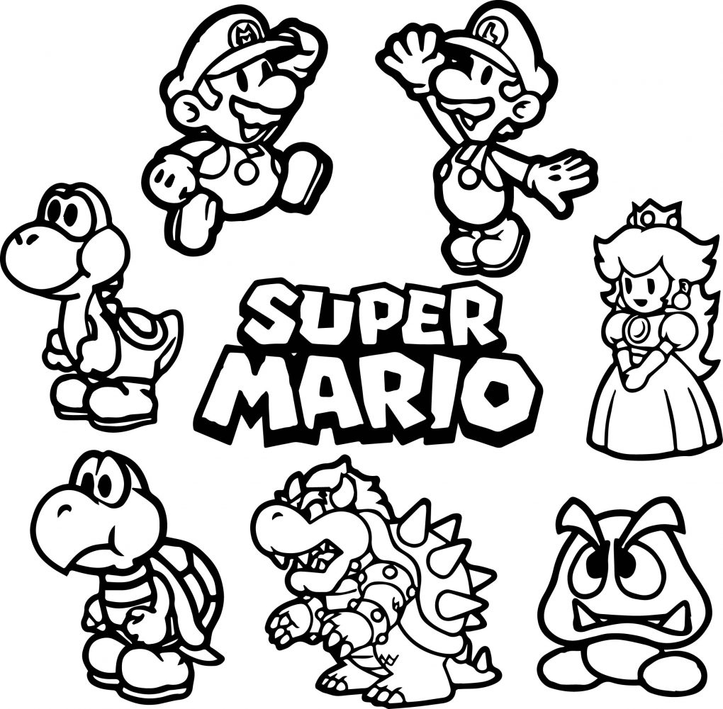 1020x1001 Simple Mario Bros Printable Coloring Pages Luigi And Page Free