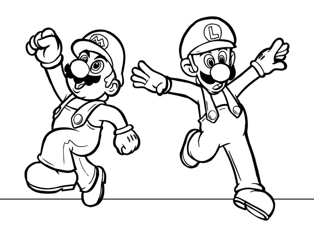 637x480 Super Mario Brothers Luigi Free Printable Coloring Pages