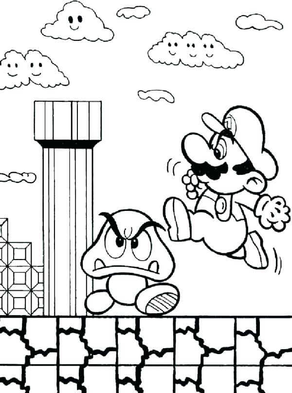 600x807 Super Mario Bros Printable Colouring Pages Icontent