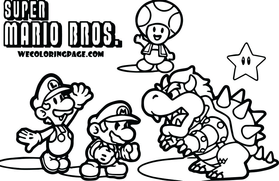 932x607 Unbelievable Mesmerizing Mario Bros Printable Coloring Pages Image
