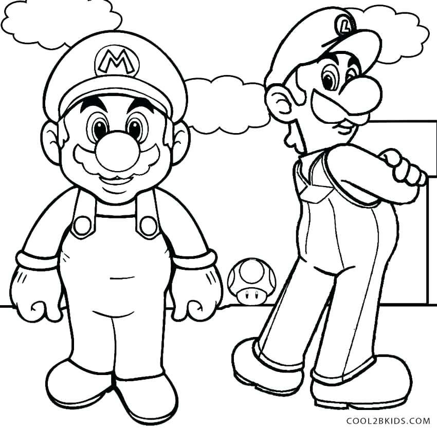850x835 Mario Bros Coloring Printable Coloring Pages For Kids Super Mario