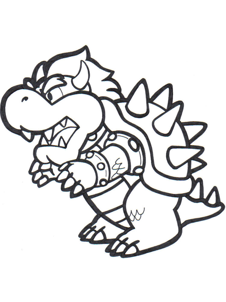 750x1000 Mario Bowser Coloring Pages Free Printable Mario Bowser Coloring
