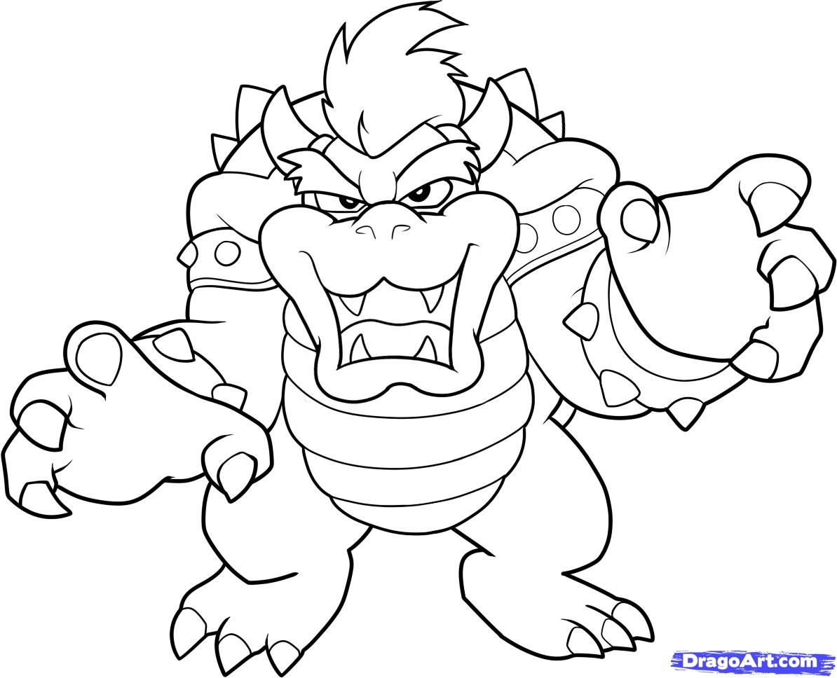 1194x968 Mario Bros Bowser Coloring Pages