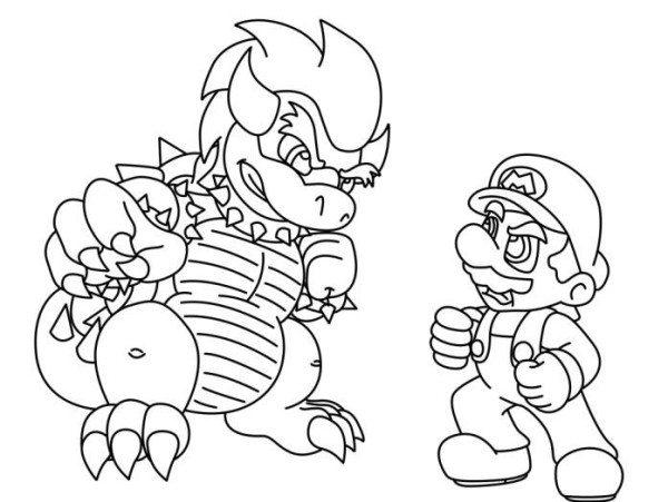 600x451 Mario Vs Bowser Mario Coloring Pages