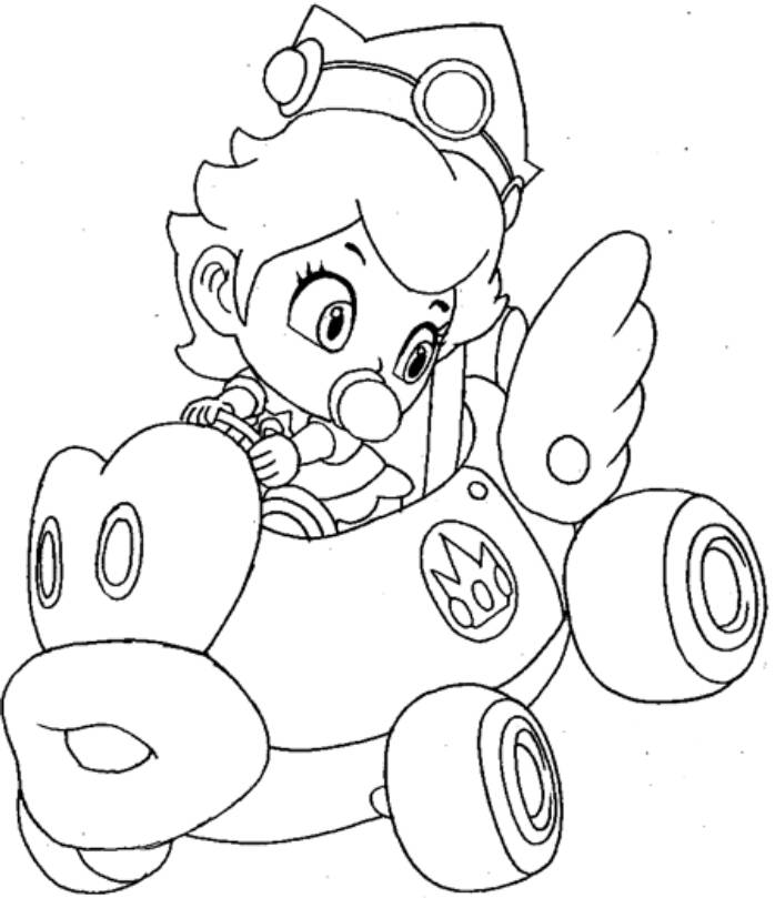 698x809 Mario Kart Princess Peach Colouring Pages Coloring Pages