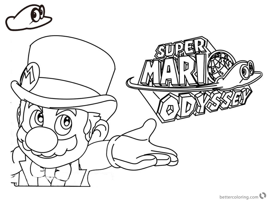 1024x768 Super Mario Odyssey Coloring Pages Line Art With Logo