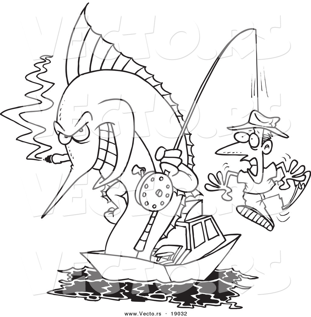 1024x1044 Vector Of A Cartoon Fishing Marlin With A Man On A Hook