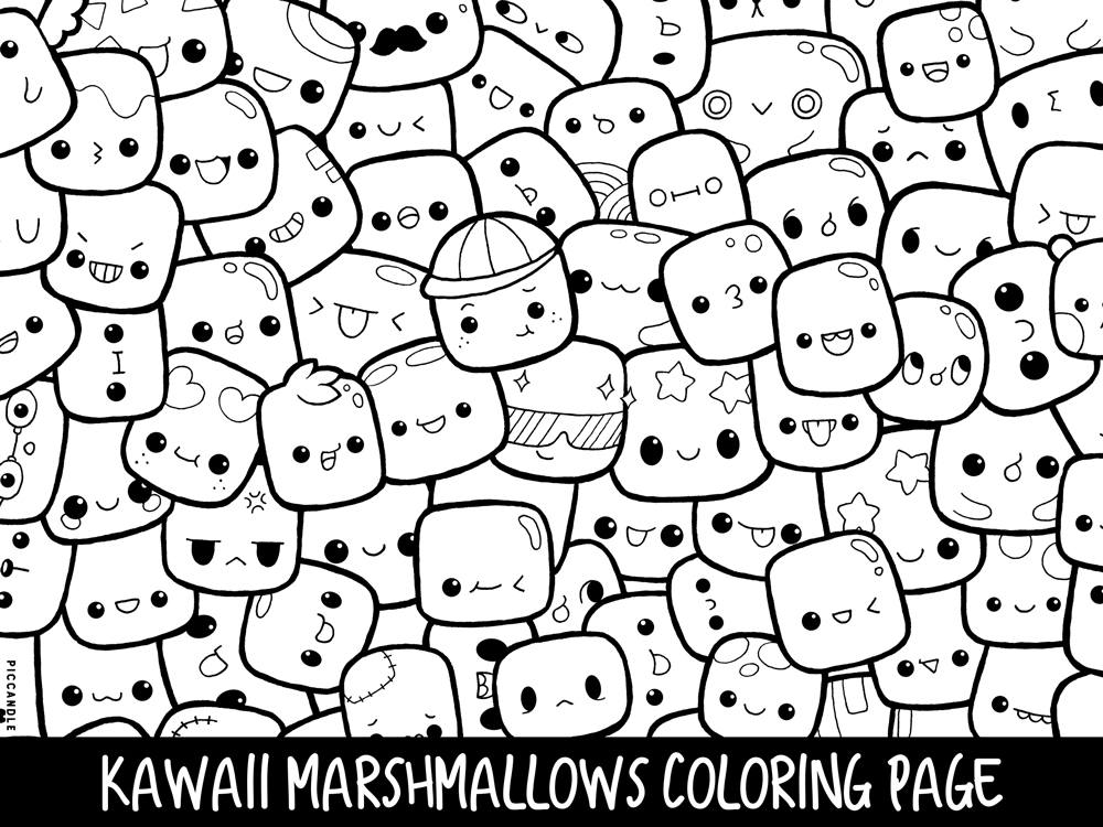 1000x750 Marshmallows Doodle Coloring Page Printable Cutekawaii