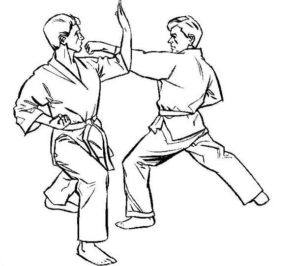 600x542 Karate Kid, Karate Kid On Counter Attack Coloring Page