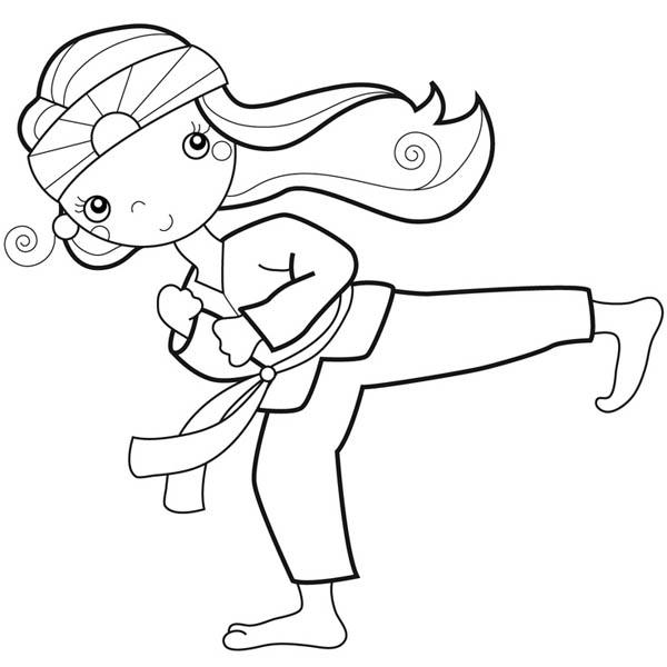 600x600 Karate Kid Doing Palm Heel Kick Coloring Page Karate