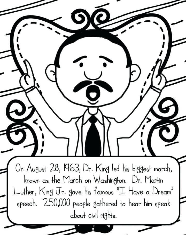720x911 Free Printable Martin Luther King Jr Day Coloring Pages