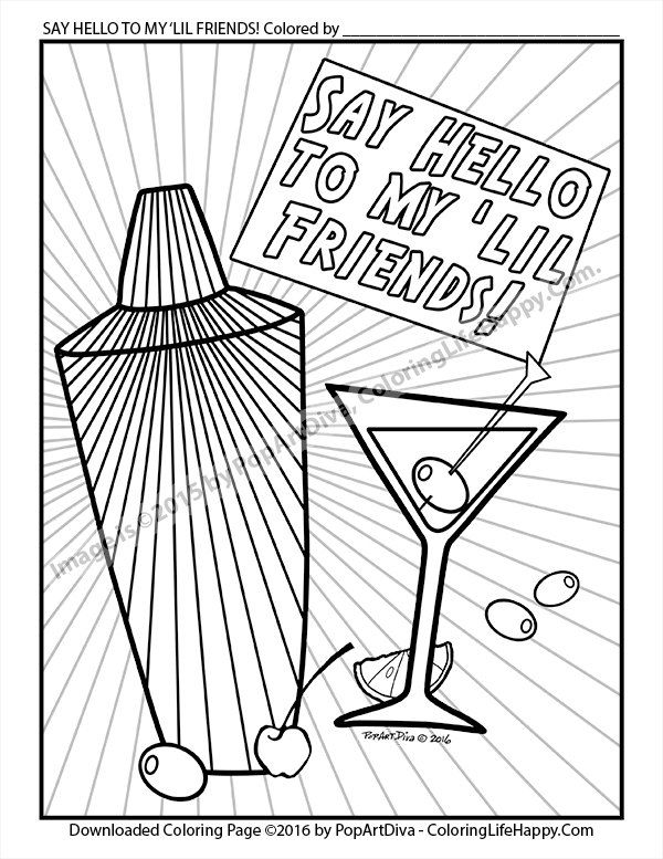 Martini Coloring Page