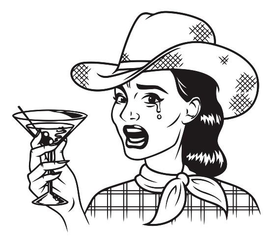 556x498 Vintage Retro Crying Cowgirl Drinking Martini Line Art Icon